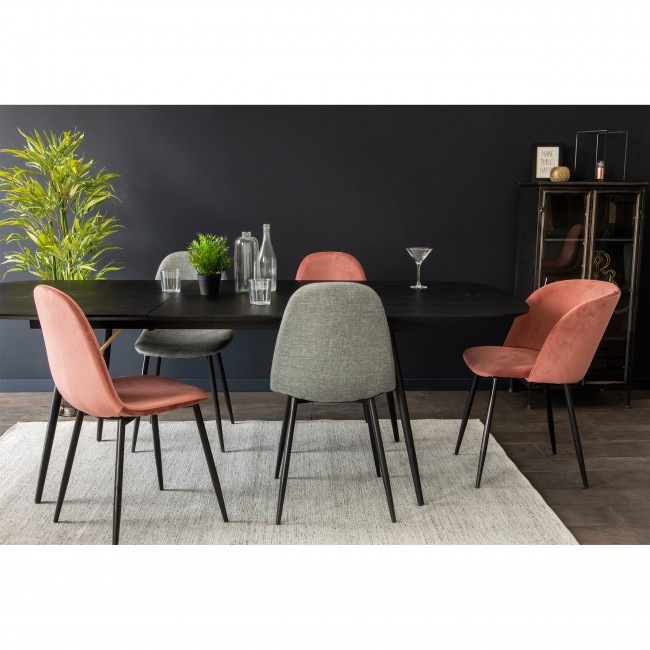 Lot de 2 chaises design en velours pieds noirs Vitikko