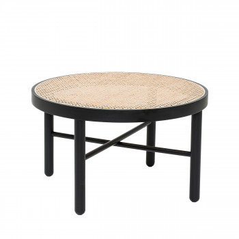 Luna - Table basse en bois et cannage