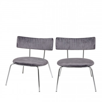 Wave - 2 chaises lounge en velours