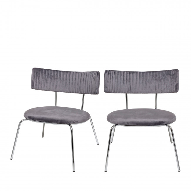 Wave - 2 chaises lounge en velours