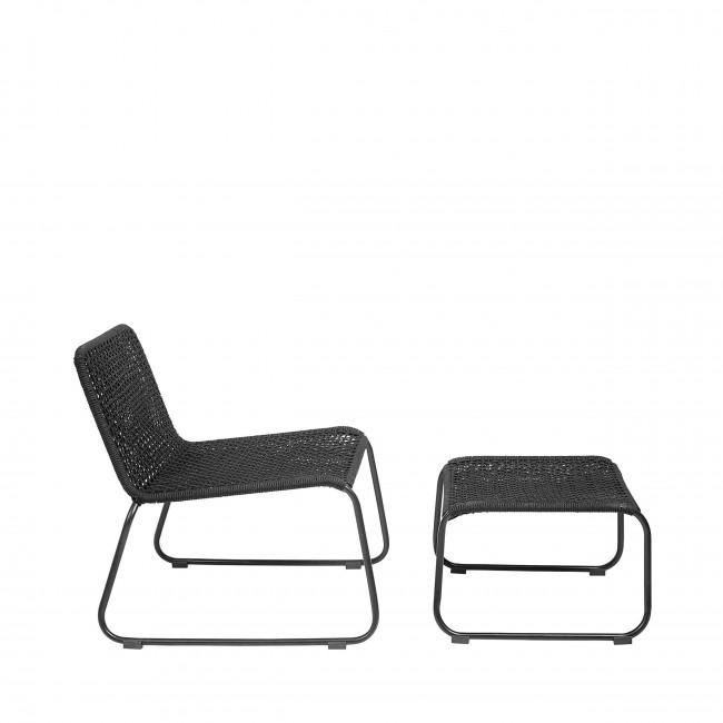 Mundo - Chaise longe avec repose-pieds en métal et résine