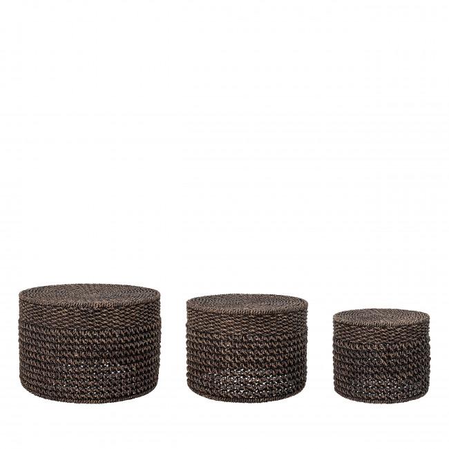 Marrone - 3 tables basses en jacinthe d'eau