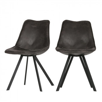 Lot de 2 chaises en similicuir Swen