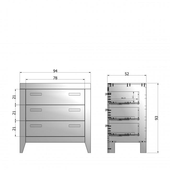 New Life - Commode 3 tiroirs en pin brossé