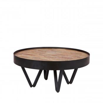 Dax - Table basse en bois et métal ø74cm