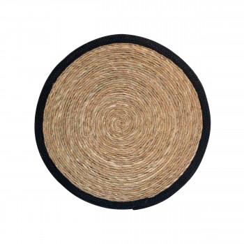 Estello - Tapis en rotin noir