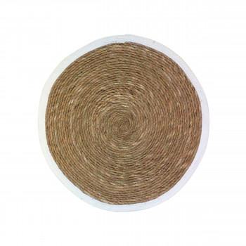 Estello - Tapis en rotin blanc