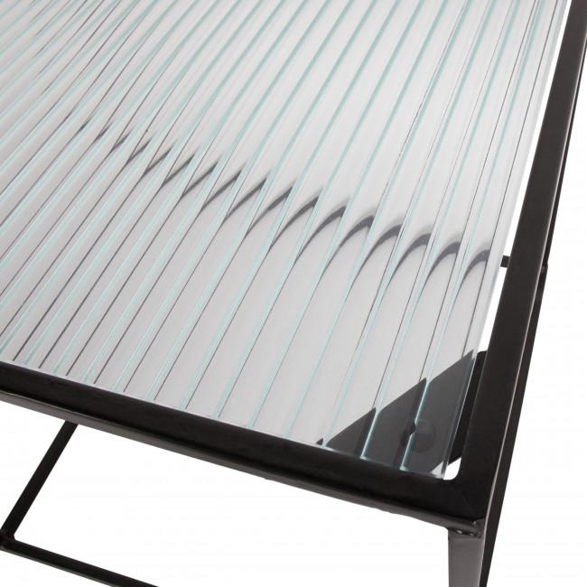 Miles - 2 tables carrées en métal et verre