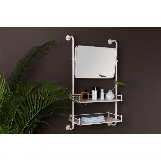 Barber - Etagère murale en métal avec miroir