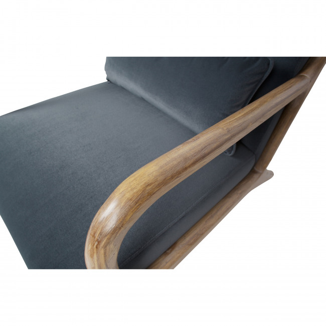 Mark - Fauteuil en bois et velours