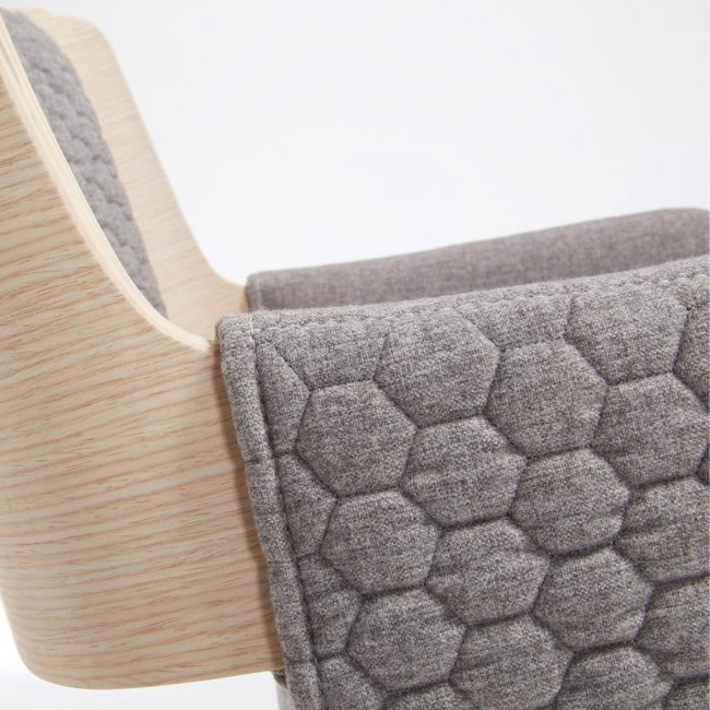 Grijota - Fauteuil capitonné en chêne et tissu