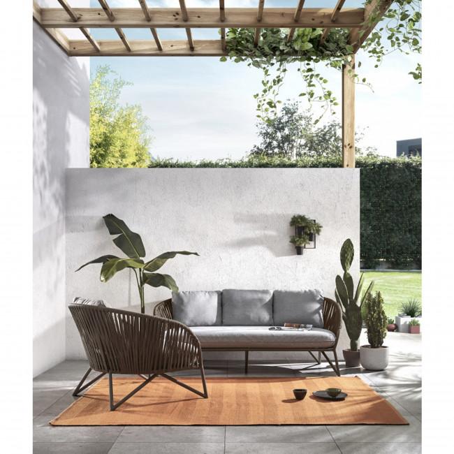 Bacoco - Canapé de jardin 2 places en métal et corde