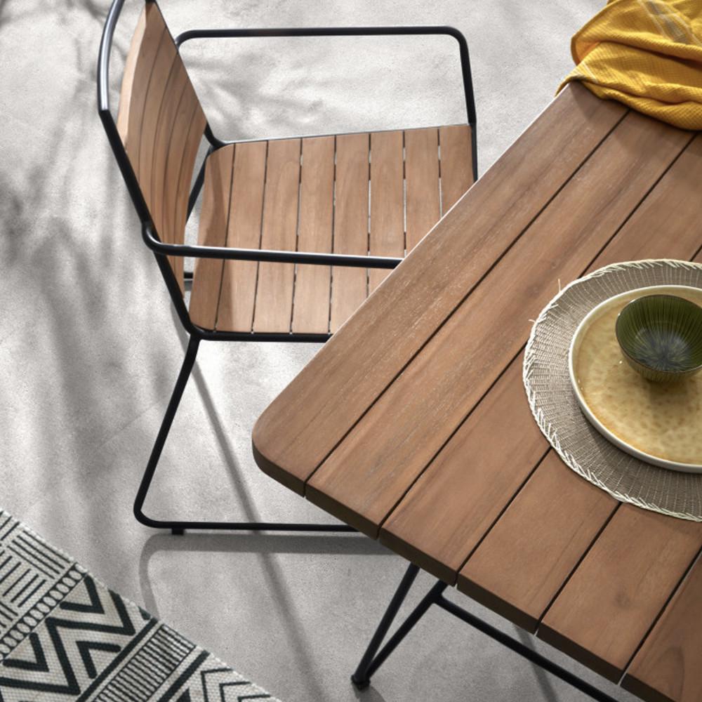 2 chaises de jardin en teck et métal - MAHIDE