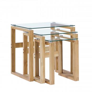 Sadala - 3 tables d'appoint en verre et bois
