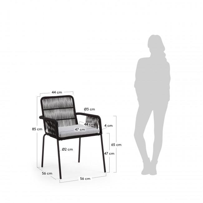 Caleruega - 2 chaises de jardin en métal et corde