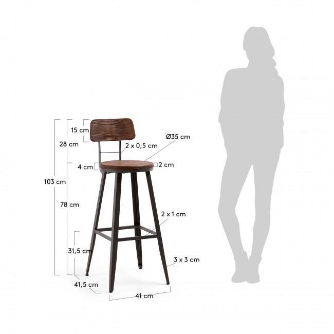 Rozadas - 2 tabourets de bar de jardin en bois et métal