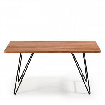 Mahide - Table de jardin en teck et métal
