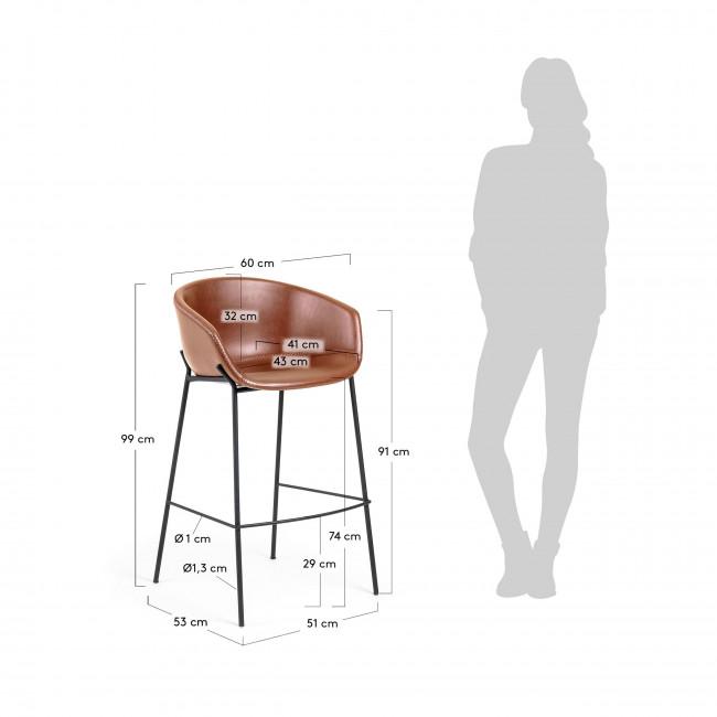 Benalua - Tabouret en simili-cuir et velours