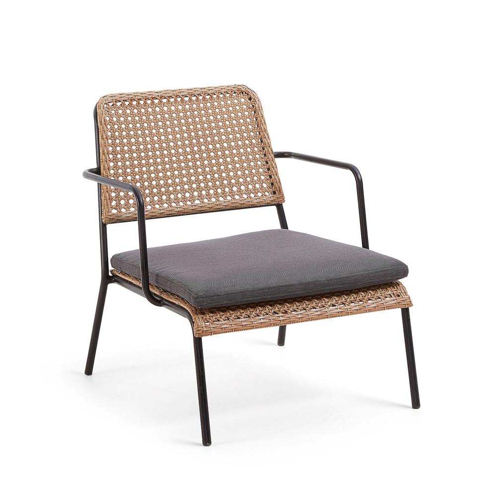 Zarza fauteuil de jardin en m tal et r sine tress e drawer - Fauteuil de jardin metal ...