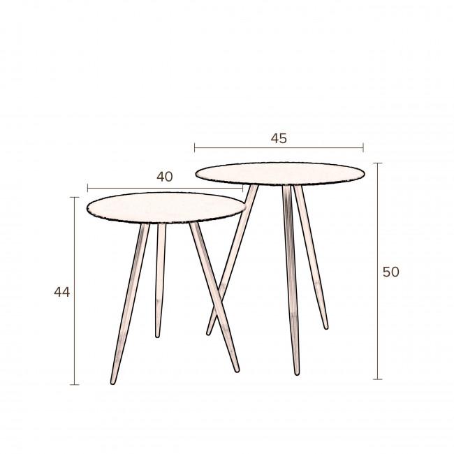 Stalwart - 2 tables basses en métal