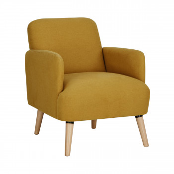 Fauteuil Retro Design.Brooks Fauteuil Retro Design Tissu Et Pieds Bois Clair