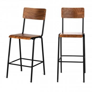 Arlet  - 2 chaises de bar métal et bois 66cm