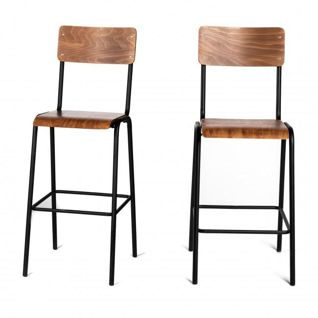 Arlet  - 2 chaises de bar métal et bois 76cm