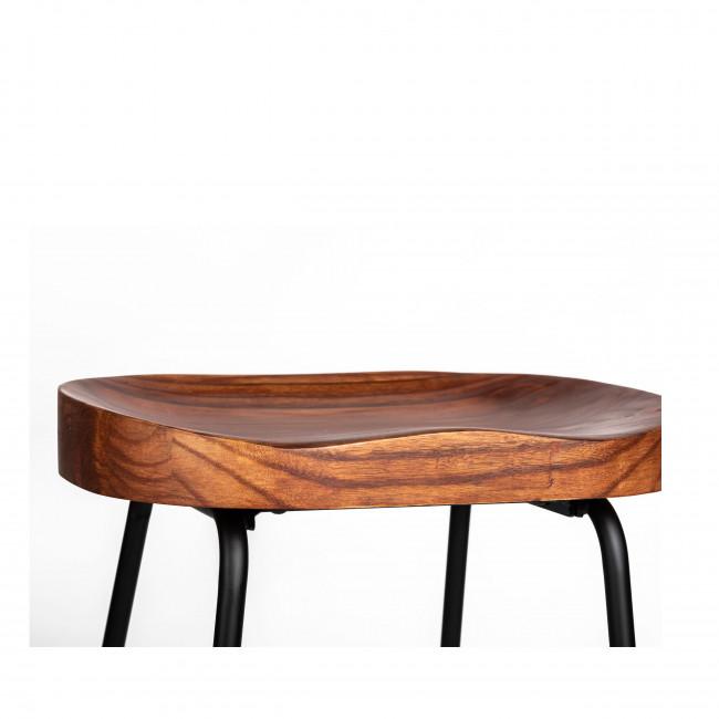 Sabran - 2 tabourets de bar bois massif et métal 65cm