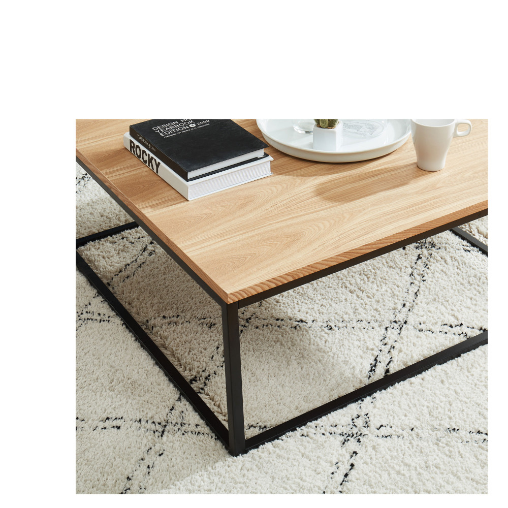 Ivica Table Basse En Bois Et En Metal 80x80 Cm Drawer