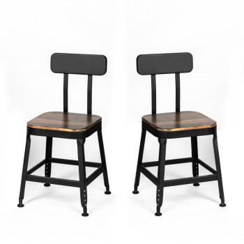 Chilly - 2 chaises métal et bois