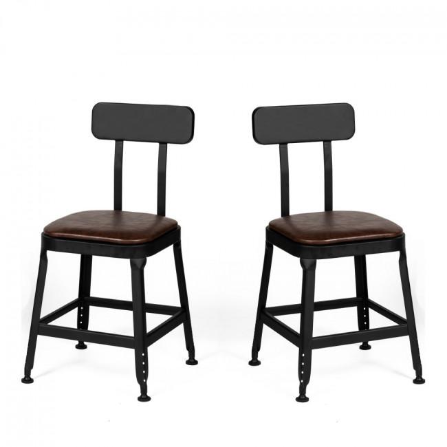 Chilly - 2 chaises métal et similicuir