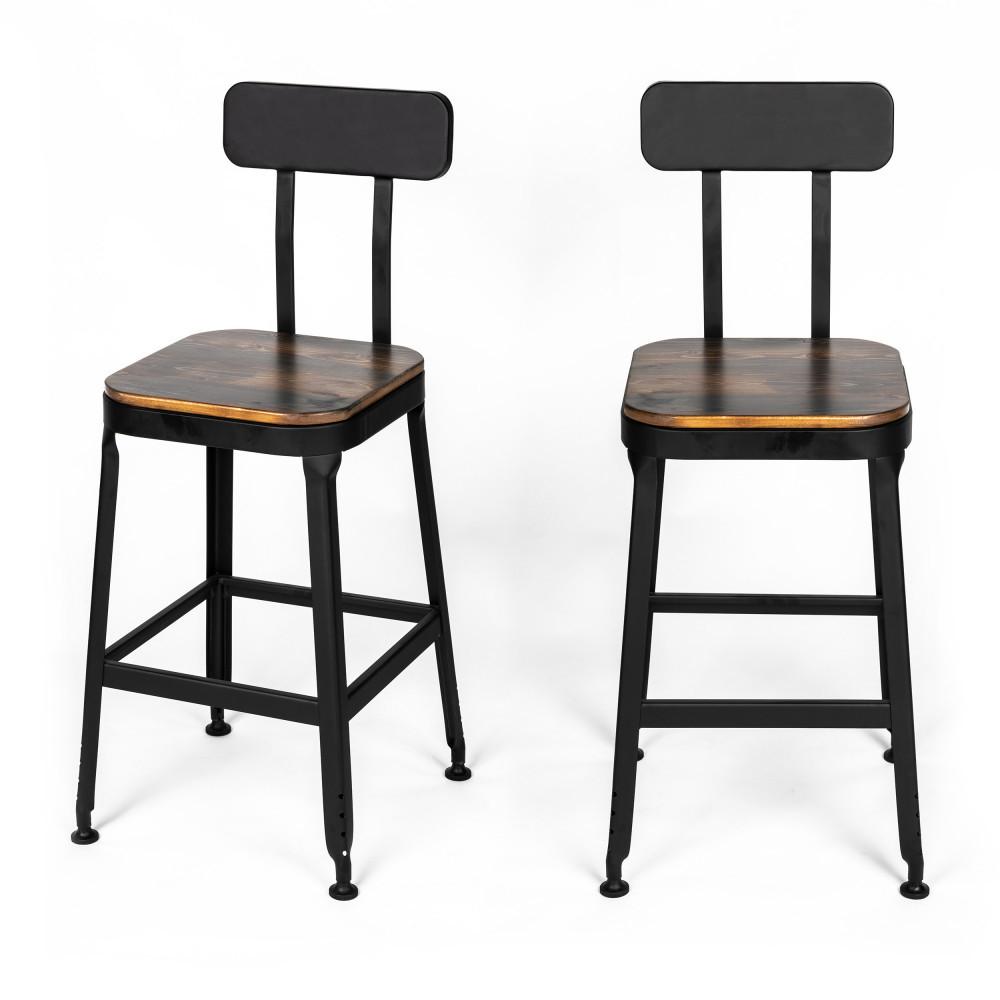 Chaise Bois Et Metal Industriel 2 chaises de bar métal et bois 63cm drawer - chilly