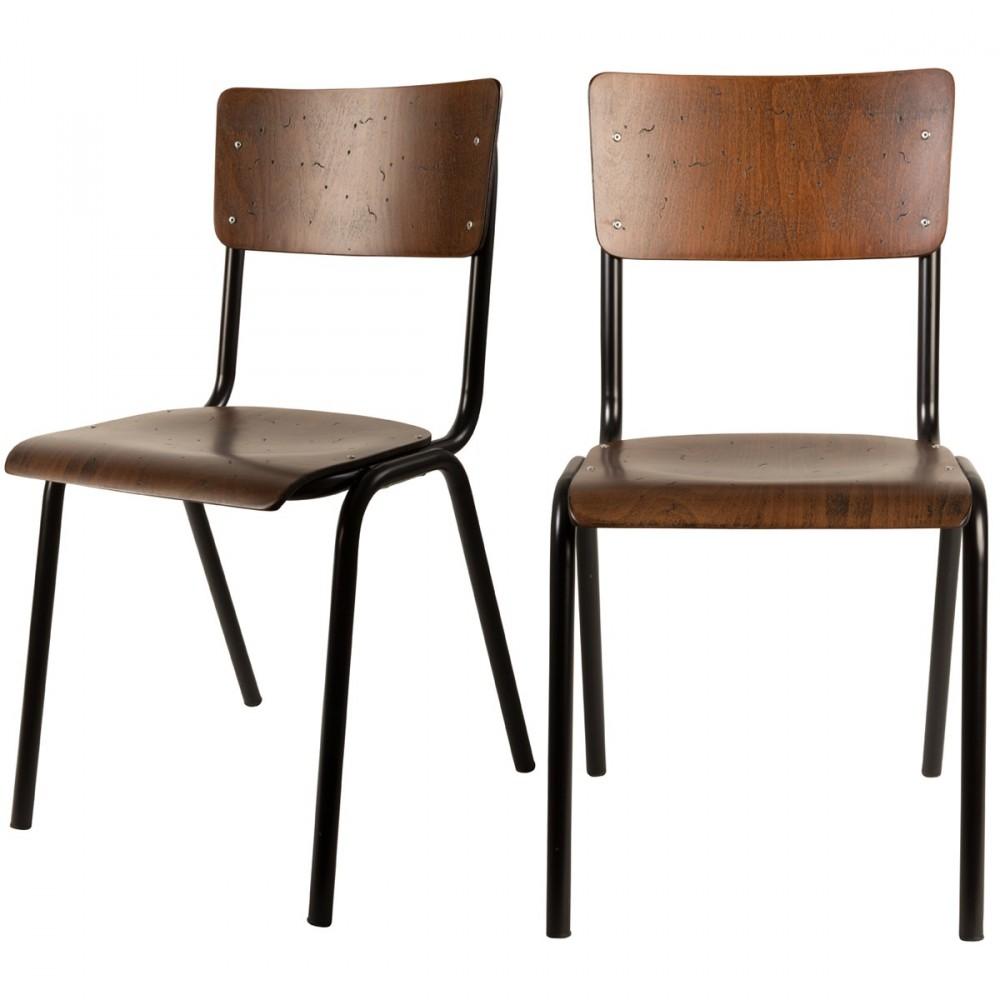 Chaise Bois Et Metal Industriel 4 chaises vintage métal bois dutchbone - scuola