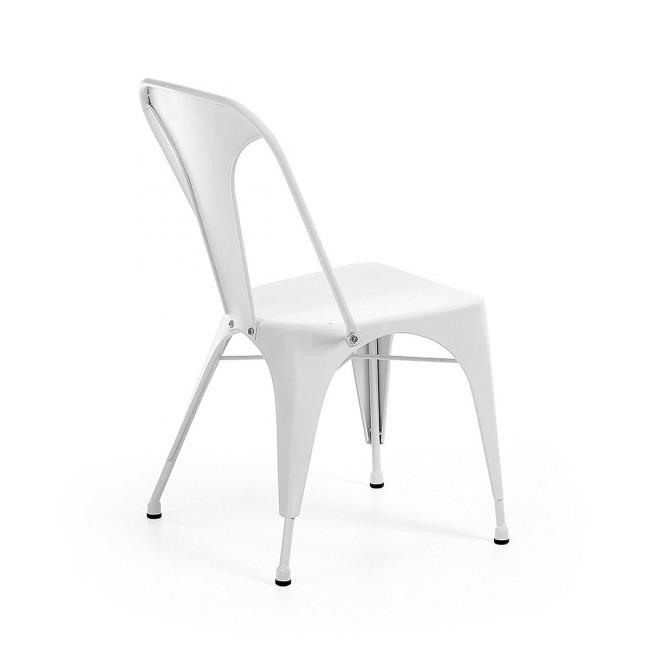 Lot de 2 chaises industrielles métal blanc Mali