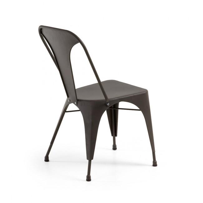 Lot de 2 chaises industrielles métal gris Mali