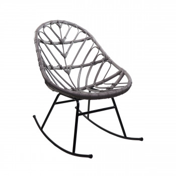 Rocking chair en rotin gris clair  Ette