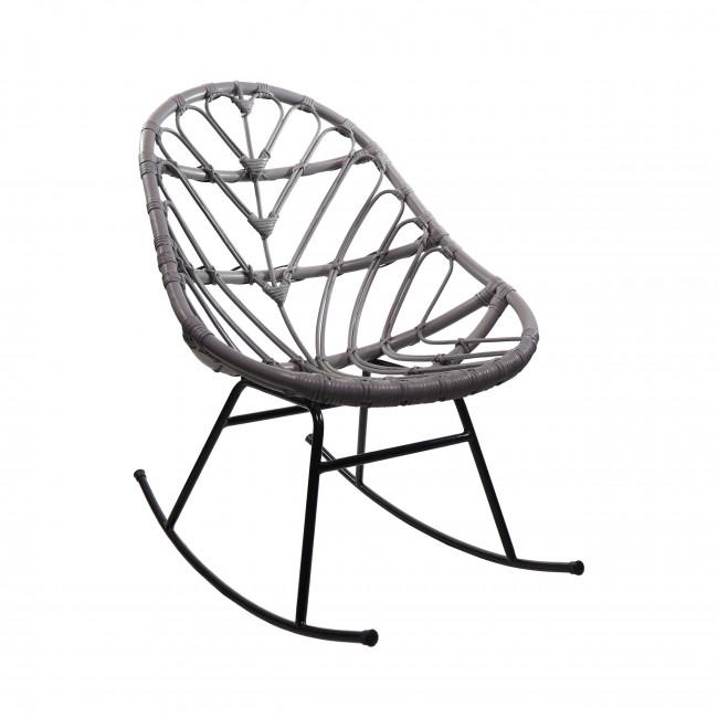 Rocking chair en rotin gris clair  Ette