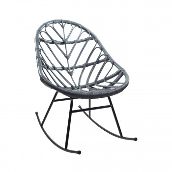 Rocking chair en rotin bleu gris Ette