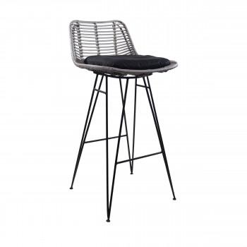 Chaise de bar design en rotin gris 69cm Capurgana