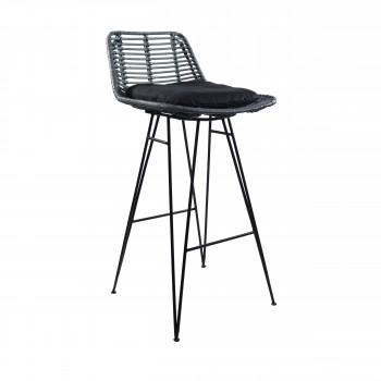 Chaise de bar design en rotin bleu canard 69cm Capurgana