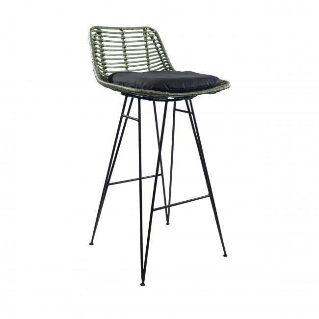 Chaise de bar design en rotin kaki 69cm Capurgana
