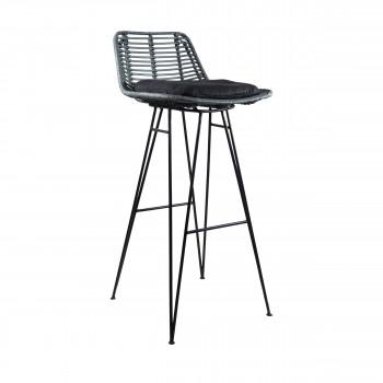 Chaise de bar design en rotin bleu canard 75cm Capurgana