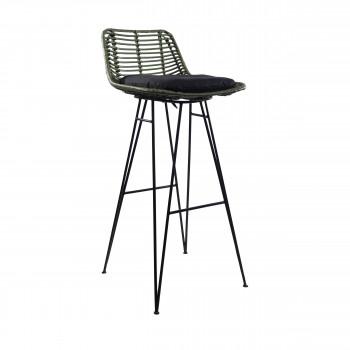 Chaise de bar design en rotin kaki 75cm Capurgana