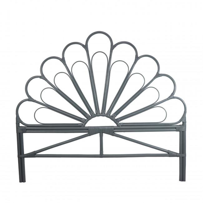 Tête de lit design en rotin bleu gris Singaraja