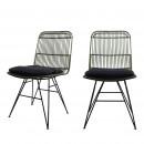 Chaise design en rotin vert kaki Uyuni