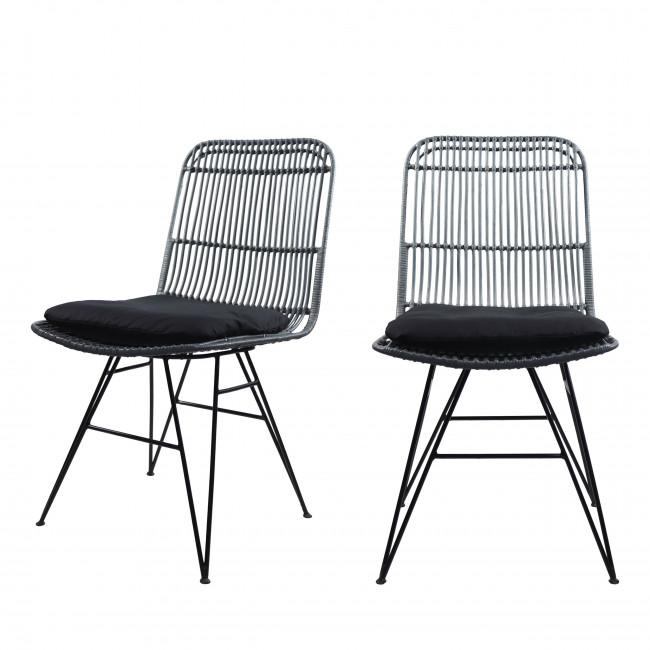 Chaise design en rotin bleu gris Uyuni