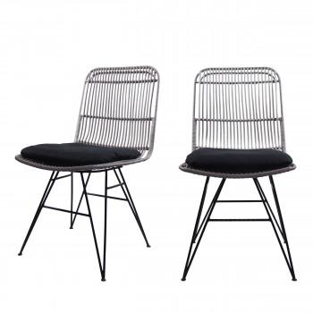 Chaise design en rotin gris clair Uyuni