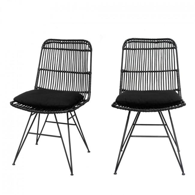 Chaise design en rotin noir Uyuni