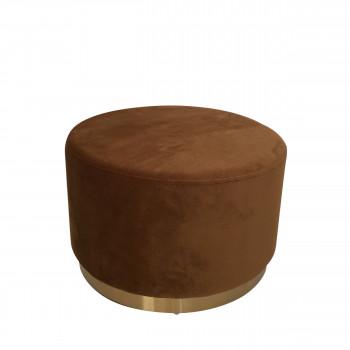 Pouf rond en velours poivre ø55 cm Pompadour Pomax