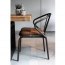 Chaise vintage métal & simili cuir Waldorf